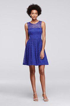 Short Lace Dress with Illusion Neckline JS6T8226