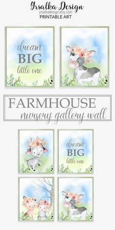 """Print set of Baby animals nursery art prints. Print set has four arts: baby goat, pig with sheep, cow painting and popular saying """"Dream big little one"""" Farm Animal Nursery, Farm Nursery, Baby Girl Nursery Themes, Nursery Wall Decor, Nursery Art, Nursery Ideas, Dream Big, Inspiration, Baby Animals"""