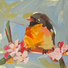 Baltimore Oriole no. 19 original bird oil painting by Angela Moulton mounted on birch panel ready to hang prattcreekart