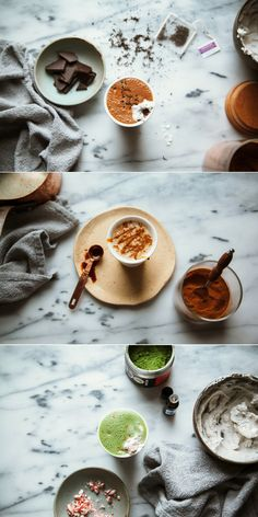 Superfood Lattes Part 2 via thefirstmess.com (early grey, lucuma + dark chocolate // ginger maple molasses // matcha mint + vanilla)