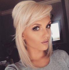 beautiful medium length blonde hair with side swept bangs i love it!