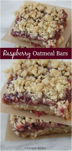 these homemade Raspberry Oatmeal Crumble Bars with only a few simple ingredients and a jar of Smucker's Jam.Make these homemade Raspberry Oatmeal Crumble Bars with only a few simple ingredients and a jar of Smucker's Jam. Köstliche Desserts, Healthy Dessert Recipes, Delicious Desserts, Homemade Desserts, Bar Cookie Recipes, Healthy Food, Dinner Recipes, Easy To Make Desserts, Healthy Eating