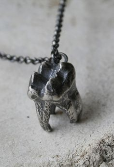 Black bear tooth necklace by Macha Jewelry
