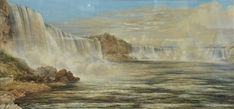 Washington Friend (British/American, 1820 - 1886), View of Niagara Falls, Summer 1850, watercolor on paper, signed lower left W.F. Friend, old labels for sale at auction on 17th April   Bidsquare British American, Outdoor Settings, Natural Wonders, American Artists, Continents, Niagara Falls, Washington, Auction, Watercolor