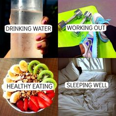 4 Simple ways to reach your fitness goals. Drink more water, work out at least 30 minutes per day. Eat healthy and sleep well.