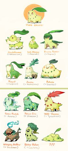 Pokemon variations of Chikorita by Nathan @ too-much-green.tumblr.com