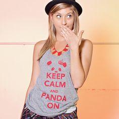 "Image of ""Keep Calm and Panda On"" Tank Top (Heather Grey)"