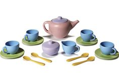 Your little host can now serve up a pot of green tea while doing something really good for the earth! - Children's play tea set, kitchen toys
