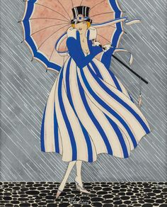 """"""" Pluviose.1917. Watercolor on paper. 22.2 x 18.4 cm. (8.74 x 7.08 in.) Les douze mois de l'année. Art by Martha Romme. """""""