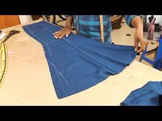 fish cut skirt/ फिश कट स्कर्ट् Wala skirt kaise banaye/how to make fish cut skirt. Sleeves Designs For Dresses, Dress Neck Designs, Fancy Blouse Designs, Girls Dresses Sewing, Dress Sewing Patterns, Clothing Patterns, Formation Couture, How To Make Fish, Fashion Maker
