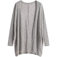Long Sleeve Loose Grey Cardigan (38 BRL) ❤ liked on Polyvore featuring tops, cardigans, outerwear, jackets, sweaters, grey, gray knit cardigan, long sleeve tops, grey knit cardigan and gray top