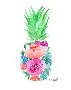 Floral Pineapple, original watercolor painting, pineapple painting, floral art, watercolor flower, t
