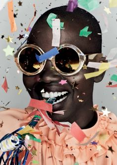 """Cake, confetti and chaos is the theme of Karen Walker's latest """"Celebration"""" collection created in honor of her companies 10-year anniversary. The collection includes one style from each year in a limited-edition gold finish."""