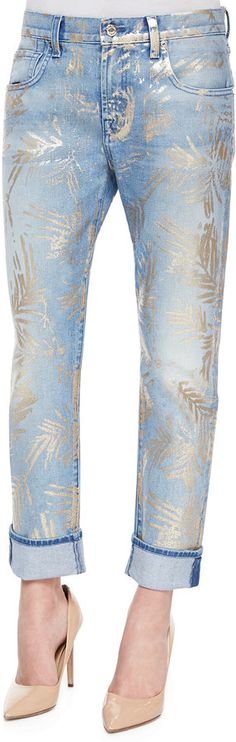 7 For All Mankind The Cropped Relaxed Skinny Jeans, Gold Fossil Leaf