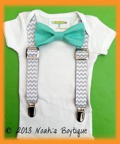 Baby Boy Clothing  Mint Bow Tie Grey Chevron by NoahsBoytiques, $19.00
