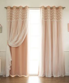 Look what I found on #zulily! Pink & Floral Lace Overlay Blackout Curtain Panel - Set of Two #zulilyfinds