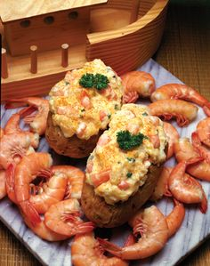 "Shrimp Potato Boats. Get this recipe and 137 more in ""Hooked on Seafood"" from the Texas Sea Grant College Program. Click on the photo for the recipe and for information on how to order the cookbook."