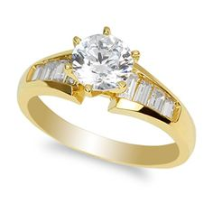 JamesJenny Ladies 14K Yellow Gold Solitaire Ring with 10ct Round CZ Size 10 * You can find more details by visiting the image link.Note:It is affiliate link to Amazon.