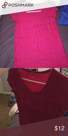 short sleeve pink shirt short sleeve pink shirt with a patterned front LOFT Tops Tees - Short Sleeve