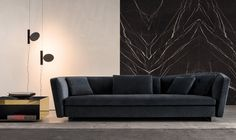Contemporary sofa / fabric / leather / by Rodolfo Dordoni - SEYMOUR - Minotti