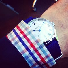 "Because navy goes with anything! Featuring our ""Navy. Baby"" strap on the #Stowa Marine Auto!"