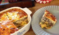 Chilies Rellenos Casserole - Spray a 9x9 casserole dish with cooking spray. Spread 2, 4.5 oz cans chopped green chilies on bottom of dish; top with 1 1/2 c grated sharp cheddar.  Brown 1 lb lean ground beef and 1/2 c chopped onion (drain any liquid.) Place on top of cheese. Beat together 4 eggs, 1 1/2 c milk, tsp hot sauce, salt & pepper to taste, and 1/2 c Bisquick. Pour over meat and top with 1 C sharp cheddar. Bake at 350 degrees for one hour.