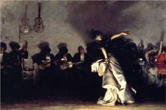 """El Jaleo - John Singer Sargent  I saw it at the National Gallery of Art in the 90's.  It is a huge piece.  Mesmerizing.  The lighting draws you in to the 'dance of the evening""""."""