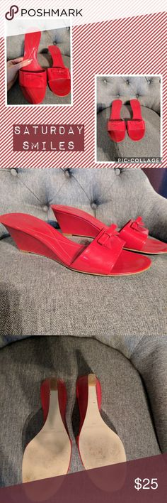 Enzo Angiolini Red Wedges Fun pair of red wedges.  Great pop of color for an outfit.  Worn infrequently and still in very good shape. Enzo Angiolini Shoes Wedges