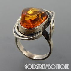 POLAND STERLING SILVER BALTIC HONEY AMBER DOMED MODERNIST RING SIZE 8.5 #Cocktail