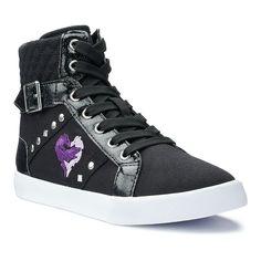 Disney D-Signed Descendants Mal Girls' High Top Sneakers, Girl's, Size: 13, Black