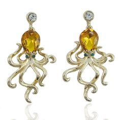 EVER FAITH Gold-Tone Austrian Crystal Little Octopus Anim...