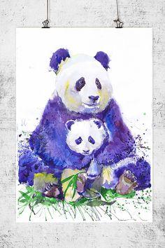panda-avec-bebe-la-faune-aquarelle-mur