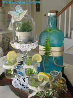great for garden club drinks! christma wreath, vignettes, christmas wreaths, colors, drink, food coloring, bottles, mason jars, summer vignett