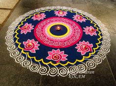 #mandala#pink#kolam#blue