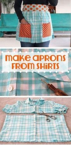 How to Make Aprons From Shirts - Free DIY Apron Sewing Patterns by terri