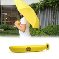 Banana Umbrella Rain Women Novelty Yellow Um-banana Thirty Percent UV Protection Windproof Folding Umbrellas Paraguas