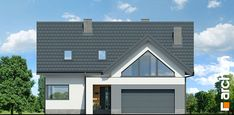 Dom w jaskierkach 2 Modern Bungalow Exterior, Modern Family House, Pergola, Garage Doors, Shed, Outdoor Structures, Mansions, House Styles, Building