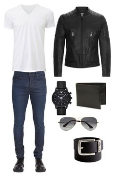 """Untitled #5"" by caza-delic ❤ liked on Polyvore featuring Sandro, Uniqlo, Emporio Armani, John Varvatos * U.S.A., Diesel Black Gold, Giorgio Armani, Ray-Ban, men's fashion and menswear"