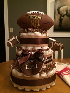 Nicci wright - Football themed diaper cake