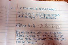 Math notebook example