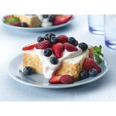 Strawberry-Cream Angel Food Cake ❤ liked on Polyvore featuring food