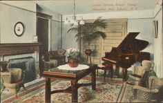 The ladies parlor in Memorial Hall at the Liberty (NY) Methodist Church (from a postcard -- date uncertain)