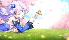 aqua_eyes arco cherry_blossoms mariposa Elsword Ginyu long_hair lu_ pointed_ears (Elsword) white_hair