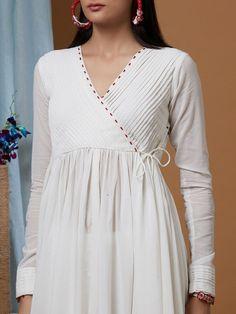 White Cotton Georgette Flared Angrakha Kurta with Modal Pants and Dupatta- Set of 3 Dress Neck Designs, Stylish Dress Designs, Designs For Dresses, Stylish Dresses, Simple Kurti Designs, Kurta Designs Women, Dress Indian Style, Indian Fashion Dresses, Pakistani Dress Design
