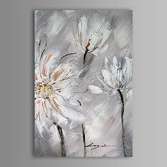 peinture à l'huile fleur abstraite moderne main toile avec cadre étiré peint – USD $ 62.99