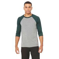 Bella + Canvas Unisex Grey/Emerld Triblend 3/4 Sleeve Baseball T-Shirt
