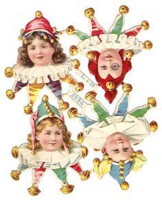 Victorian Die Cuts Paper Doll Clown Children Fancy Dress Costume Hat Scraps