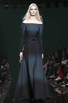 Elis Saab Fall Winter 2014 Paris...Wow love this silhouette. Imagine this in your wedding colors or tone on tone with 'simple embellishments that fit your style. Get that designer look without the designer $$$, have it custom-made.