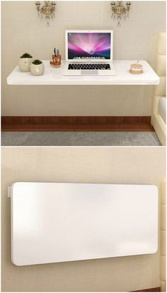 12 floating desks that look great and take up minimal space - Living in a shoebox Home Room Design, Home Office Design, Space Saving Furniture, Home Decor Furniture, Fold Down Desk, Drop Down Desk, Study Table Designs, Floating Table, Desks For Small Spaces