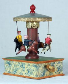 Antique Early German Erzgebirge Merry-Go-Round / Carousel  Wood Toy c1900